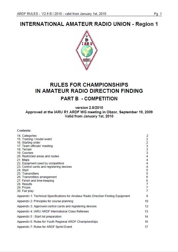 IARU Region 1 Rules for championships in ARDF